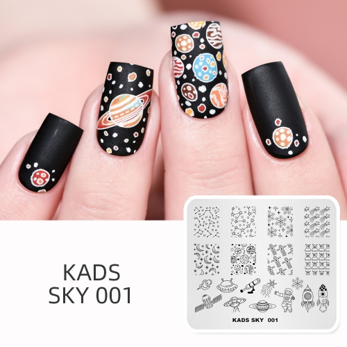 SKY 001 Nail Stamping Plate Sky & Star & Satellite & Astronaut & Rocket & Spaceship