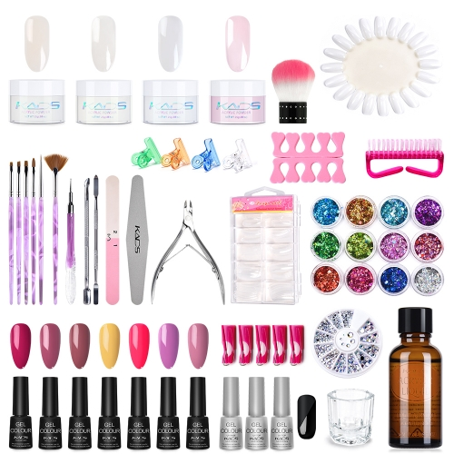 Gel Nail Set For Making Nail Polish At Home (Acrylic Powder x4, Acrylic Liquid x1, Crystal Cup x1, Color Nail Gel x5, Base Coat x1, Top Coat x2)