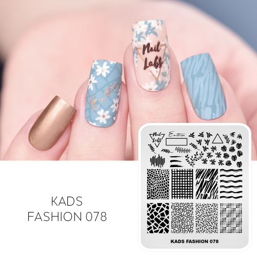 FASHION 078 Nail Stamping Plate Cute Letters& Grids& Lines