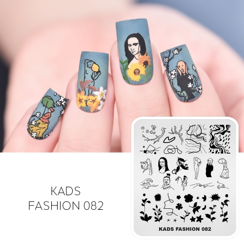 FASHION 082 Nail Stamping Plate Famous Painting Figures& Leaves