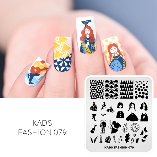 FASHION 079 Nail Stamping Plate Characters& Costumes& Flowers
