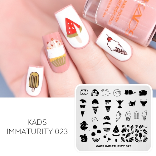 IMMATURITY 023 Nail Stamping Plate Cute Animals & Fruits & Ice Cream