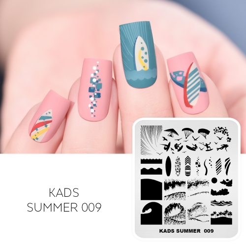 SUMMER 009 Nail Stamping Plate Waves & Surf & Glide